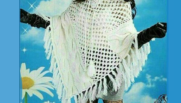 شنل بافتنی با میل و قلاب بسیار شیک زنانه یا بچگانه